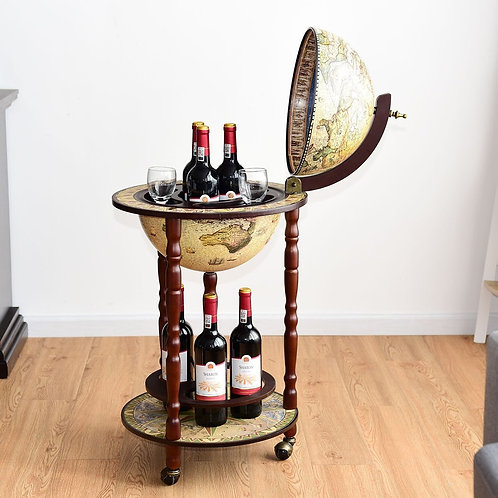 "17"" Italian Style Wooden Globe Liquor Bottle Wine Rack"