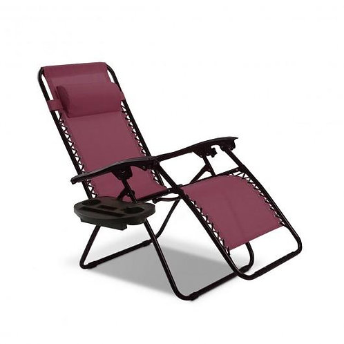 Outdoor Folding Zero Gravity Reclining Lounge Chair-Wine