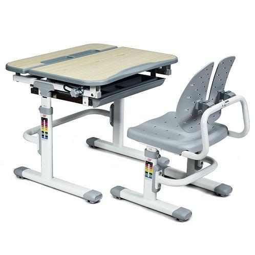 Height Adjustable Kids Study Desk and Chair Set-Gray