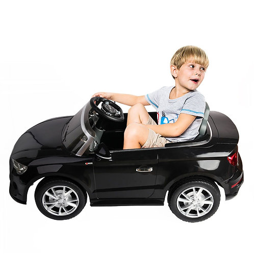 12 V Audi A3 Kids Ride on Car with RC + LED Light + Music-Black