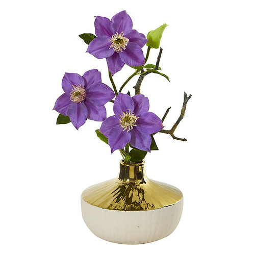 "16"" Anemone Artificial Arrangement in Gold and Cream Elegant Vase"