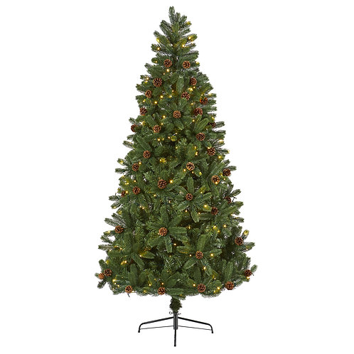 7.5' Rocky Mountain Spruce Artificial Christmas Tree w/ Pinecones