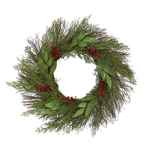 """20""""  Cedar and Ruscus with Berries Artificial Wreath"""