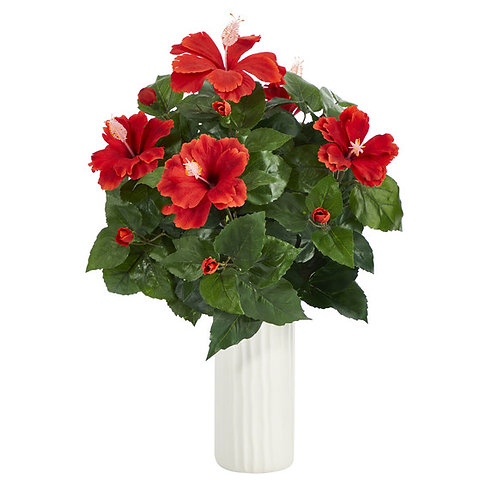 "20"" Hibiscus Artificial Plant Artificial Plant in White Planter"