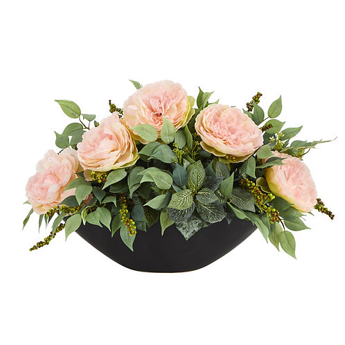"19"" Peony and Mixed Greens Artificial Arrangement in Black Vase"