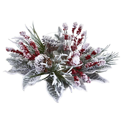 Snowy Magnolia Berry Artificial Arrangement Candelabrum
