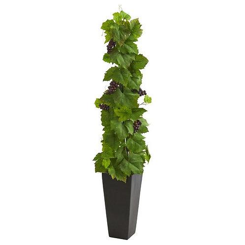 Grape Leaf Artificial Plant in Black Planter