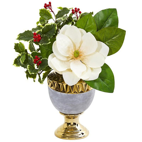 Magnolia and Holly Leaf Artificial Arrangement in Stoneware Urn