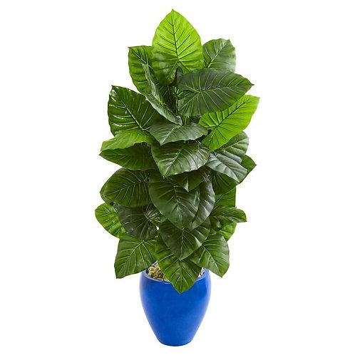 4.5' Taro Artificial Plant in Blue Planter