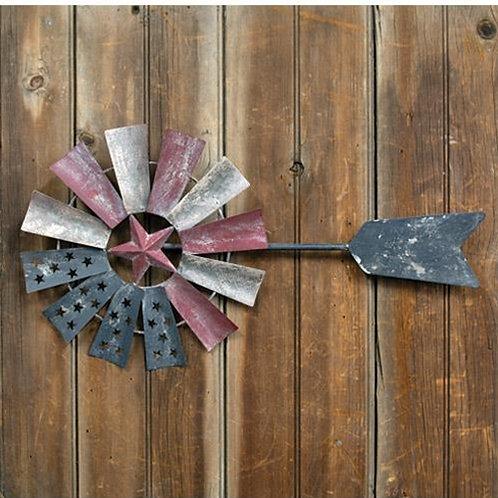 Distressed Americana Windmill Wall Art