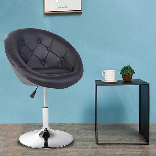 1 PC Modern Adjustable Swivel Round PU Leather Chair-Black