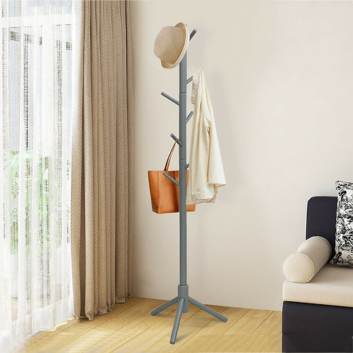 2 Heights Wooden Coat Rack with 8 Hooks-Gray
