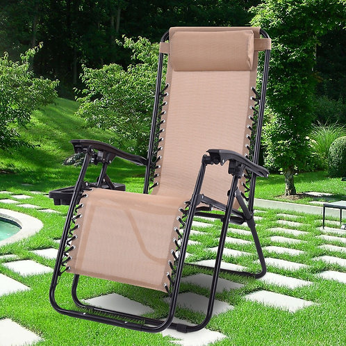 Outdoor Folding Zero Gravity Reclining Lounge Chair w/ Utility Tray-Beige