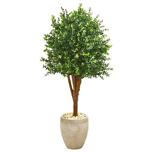 4.5' Eucalyptus Artificial Tree in Sandstone Planter UV Resistant