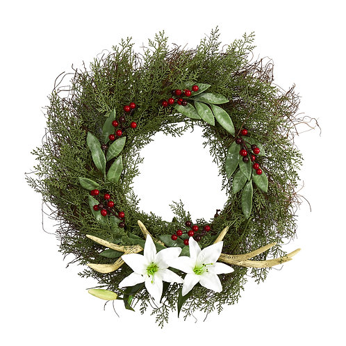 """20"""" Cedar, Antlers, Lily and Ruscus with Berries Artificial Wreath"""