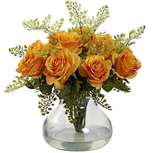 Rose & Maiden Hair Arrangement w/Vase