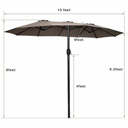 15' Twin Patio Umbrella Double-Sided Outdoor Market Umbrella -Tan