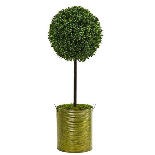2.5' Boxwood Topiary Artificial Tree in Green Tin UV Resistant (Indoor/Outdoor)
