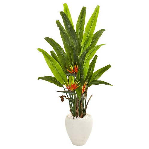 """59""""  Bird of Paradise Artificial Plant in White Planter"""