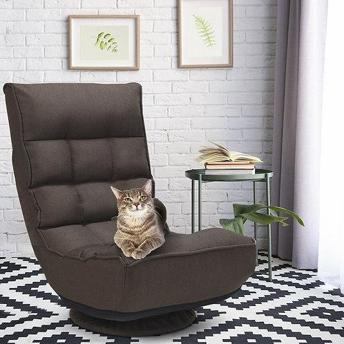 4-Position Adjustable 360 Degree Swivel Folding Floor Sofa Chair-Brown