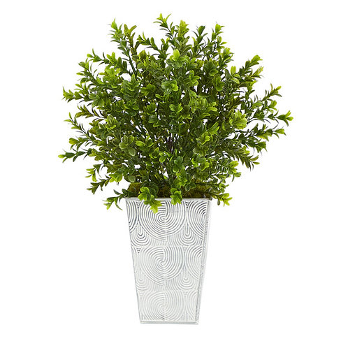 """19"""" Boxwood Artificial Plant in Embossed White Planter"""