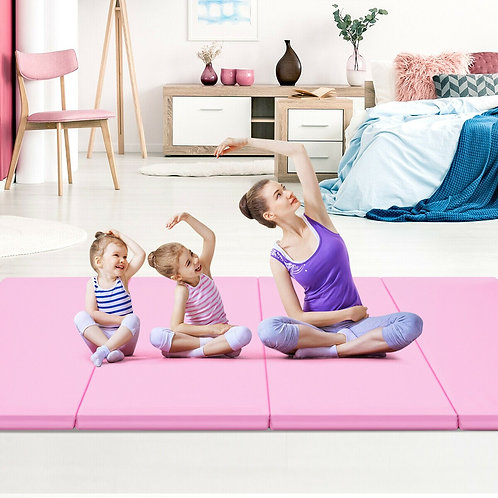 "4' x 8' x 2"" Gymnastics Mat Thick Folding Panel Aerobics Exercise Mat-Blue"