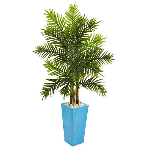 5.5' Areca Palm Artificial Tree in Turquoise Planter (Real Touch)