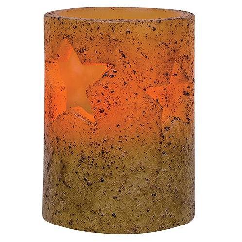 "4"" Burnt Ivory Star Stamped Timer Pillar (Pack of 2)"