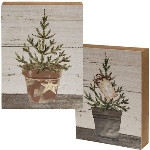 Pack of 2 Merry Christmas Box Sign 2 asstd.