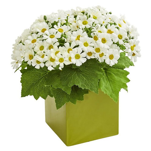 Daisy Artificial Arrangement in Green Vase