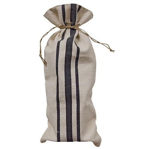Farmhouse Canvas Striped Wine Bag