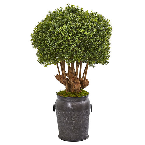 "44"" Boxwood Artificial Topiary Tree in Metal Planter"