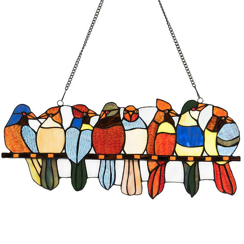 "22.5"" Tiffany Glass Window Panel 8 Birds Hanging with Chain"