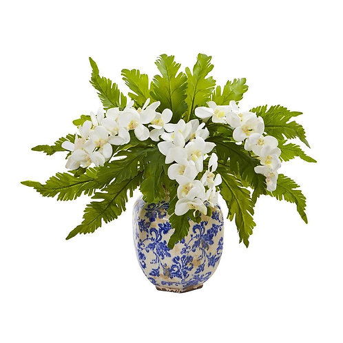 """15"""" Phalaenopsis Orchid and Fern Artificial Plant in Vase"""