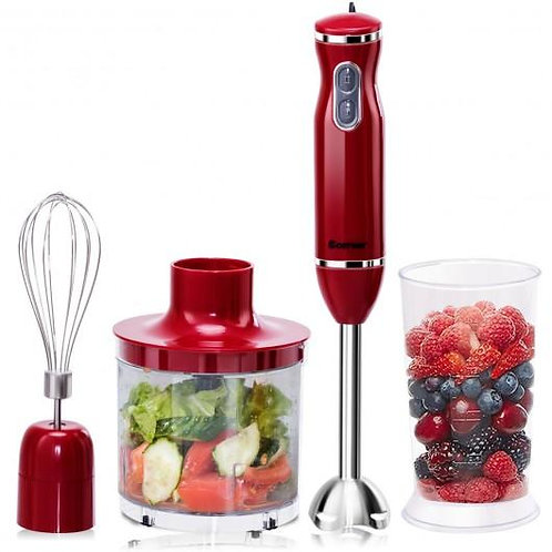 4-in-1 Immersion Hand Blender Set w/ Food Chopper and Beaker-Red