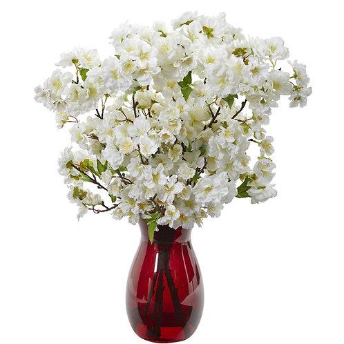 "18"" Cherry Blossom Artificial Arrangement in Ruby Vase"