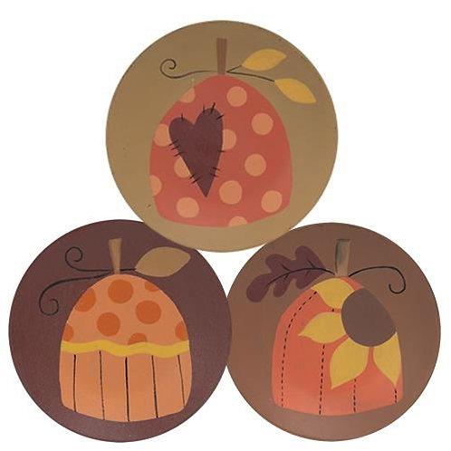 Sunflower Pumpkin Pattern Plate 3 Asstd.