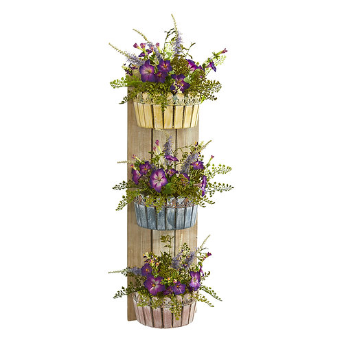 39' Morning Glory Artificial Arrangement in Three-Tiered Wall Decor Planter