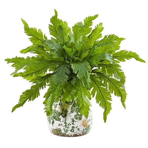 "13""  Fern Artificial Plant in Floral Vase"