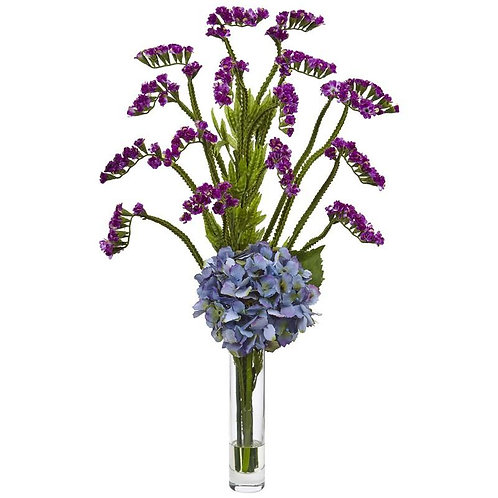 Hydrangea and Statice Bud Arrangement