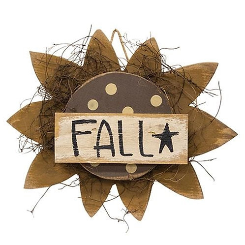 "Hanging Wood ""Fall"" Sunflower 13.5"""