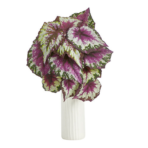 """18"""" Wax Begonia Artificial Plant in White Planter"""