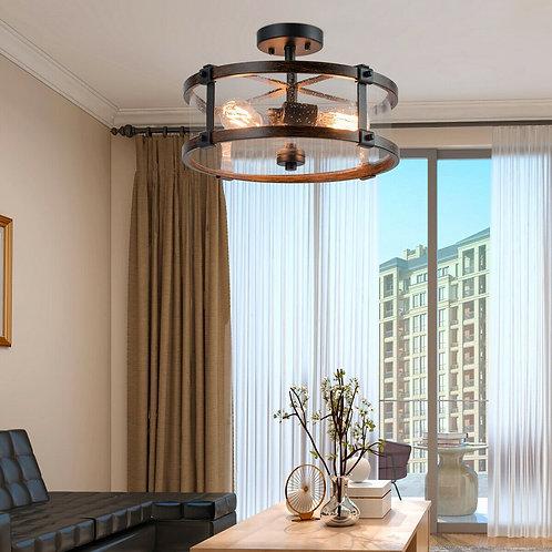3-Light Living Room Retro Flush Mount Ceiling Light