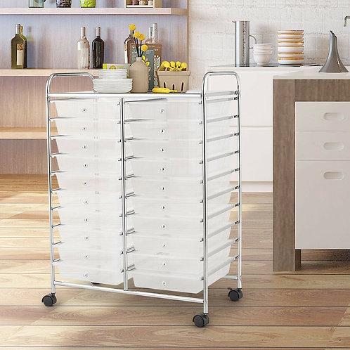 20 Drawers Storage Rolling Cart Studio Organizer-Clear