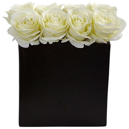 Roses Arrangement in Black Vase