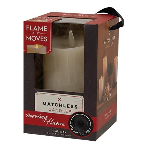 "Matchless Flame Candle 3"" x 4.5"""