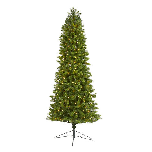8' Slim Virginia Spruce Artificial Christmas Tree w 600 Warm White LED Lights