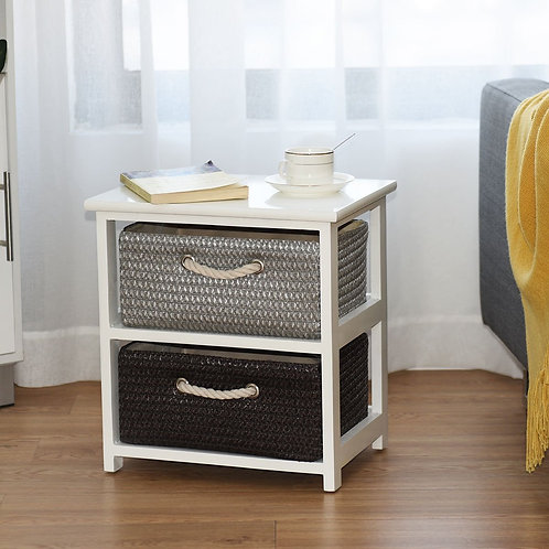 Wooden Storage End Nightstand  with Weaving Baskets-2-Tier
