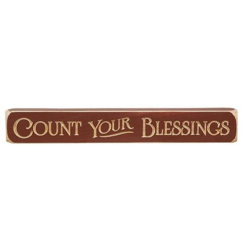 Count Your Blessings Engraved Block 12""