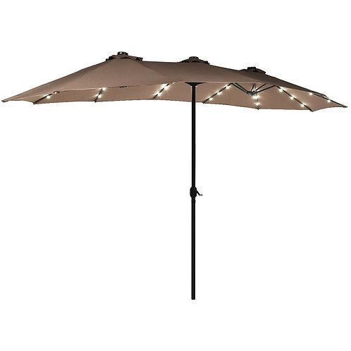 15 Ft Patio LED Crank Solar Powered 36 Lights  Umbrella-Tan